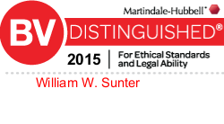 Attorney Will W. Sunter Rated BV® Distinguished™ by Martindale-Hubbell®